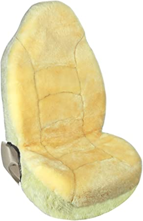 Leader Accessories Front Car Seat Cover Bucket Genuine Sheepskin Seat Protector for SUV Truck,Single One,Champagne