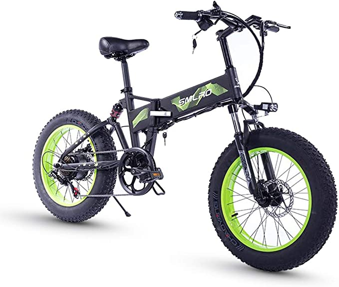 XXCY Neumático Gordo De 20 Pulgadas, Motor 36v 500w, Bicicleta Plegable, Bicicleta Eléctrica, Batería De Litio Móvil Shimano 7 Velocidades Freno De Disco Hidráulico (Green): Amazon.es: Deportes y aire libre