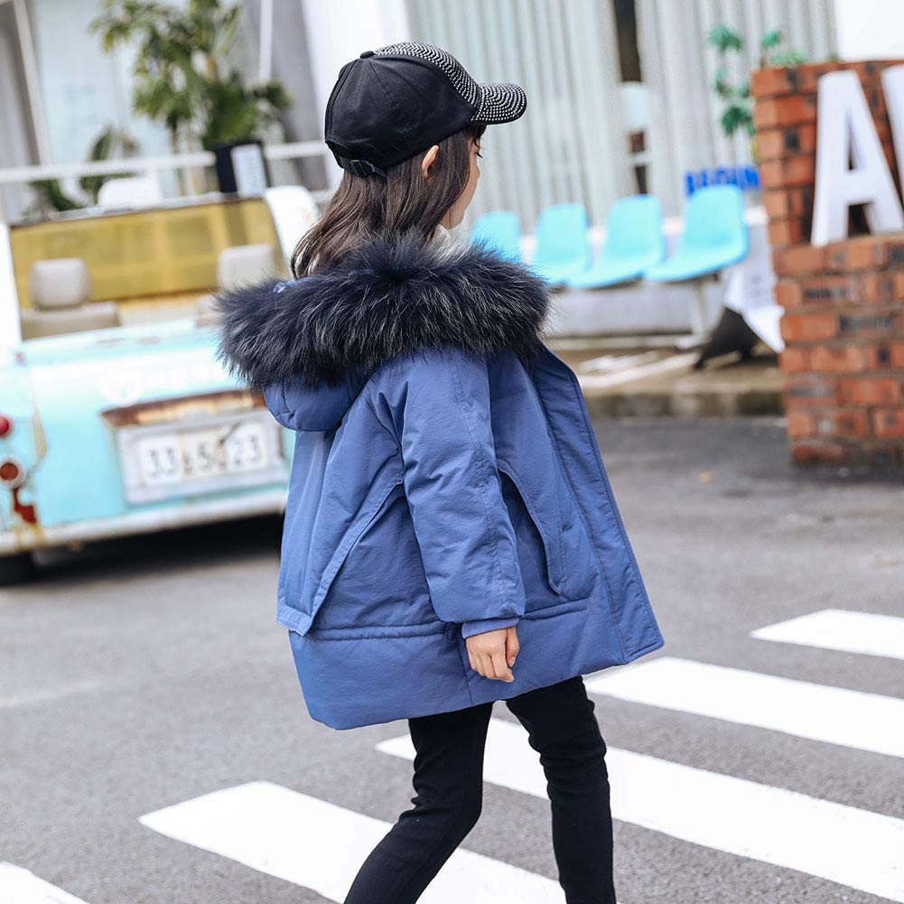 LSHEL Girls Half Length Winter Coat with Fur Collar and Pure Colour