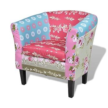 VidaXL Fauteuil Design Flora Patchwork Multi Couleur Ergonomique - Fauteuil de couleur design
