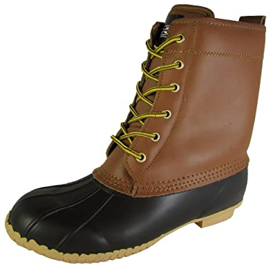 Climate X Mens SB31 Waterproof Leather Duck Boot Shoes, Brown, US 10