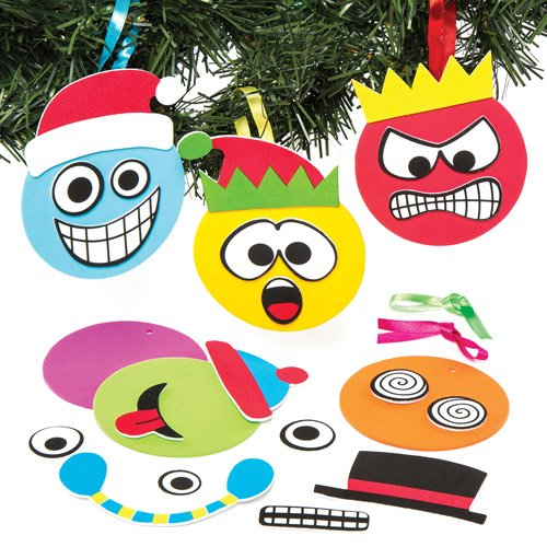 Christmas Hats For Children To Make (Christmas Funny Face Mix & Match Hanging Decoration Kits for Children to Make and Design for Xmas - Creative Foam Craft Toy for Kids (Pack of 6))