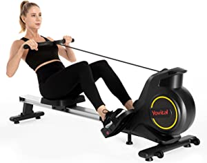 Yovital Rowing Machines for Home Use Foldable, Rowing Machine Rower Exercise Equipment, Row Machine 8 Level Adjustable Magnetic Resistance with LCD Monitor, Full Body Fitness and Home Gym