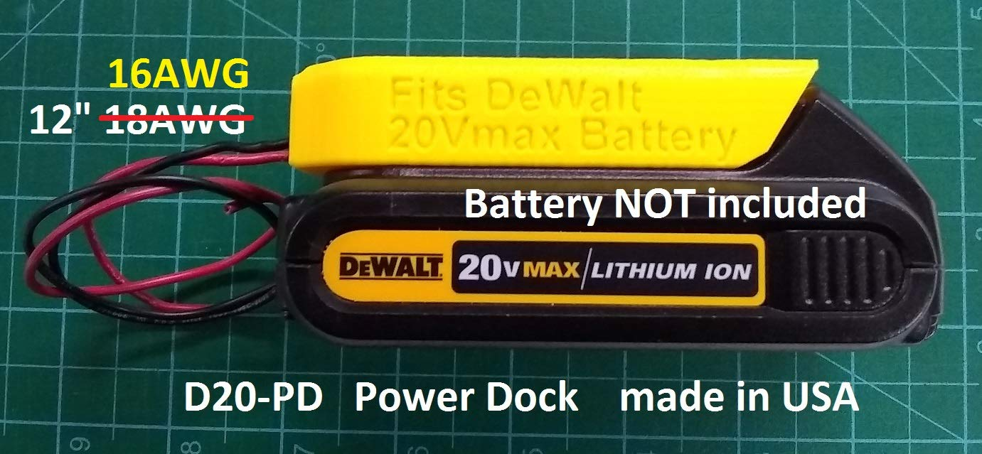 Power Dock for DeWalt DCB20x Battery, wired 16AWG, PN# D20-PD, 17.98 shipped
