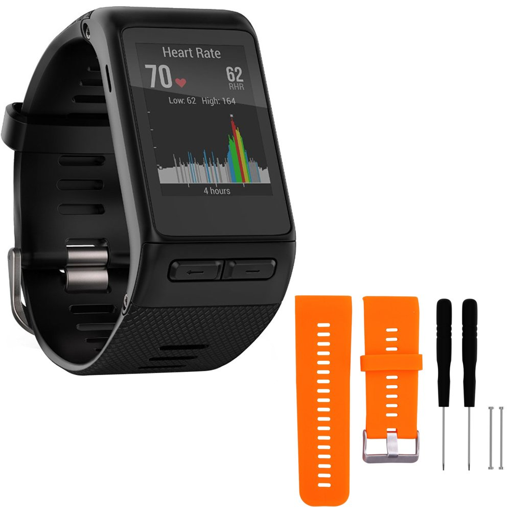 Garmin vivoactive HR GPS Smartwatch - X-Large Fit - Black (010-01605-04) with General Brand Silicone Band Strap + Tools for Vivoactive HR Sport Watch (Orange)