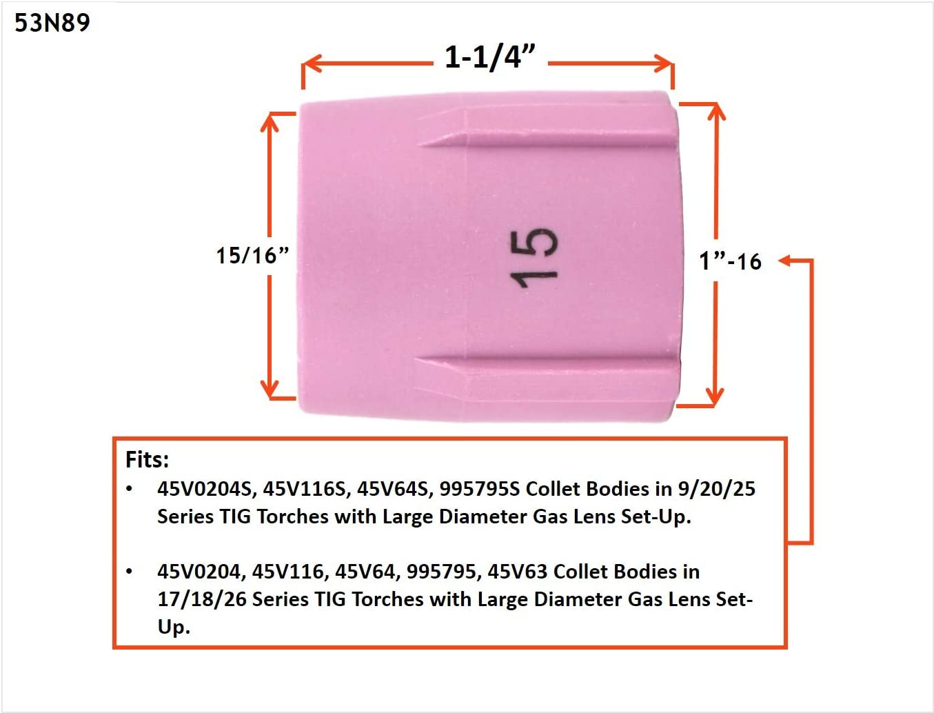 Model: 53N87 #12 - 2 PACK 3//4 Alumina Nozzle Cups for TIG Welding Torches Series 9//20//25//17//18//26 with Large Diameter Gas Lens Set-Up