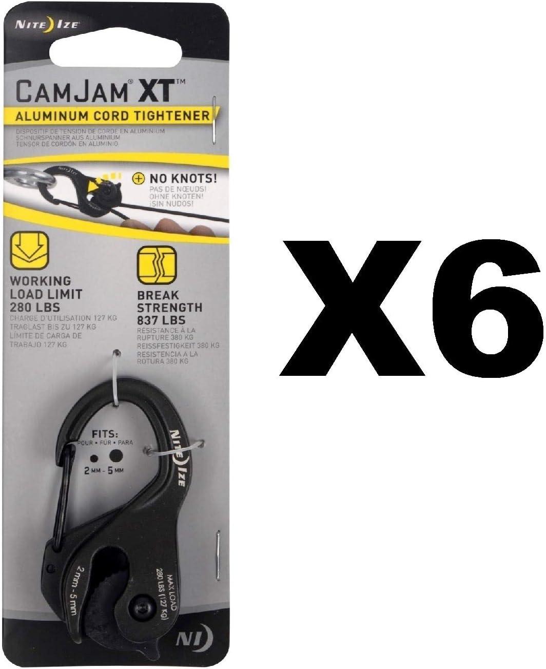 Nite Ize CamJam XT Aluminium Noir Corde /& Cordon TENDEUR ARRIMAGE Outil 4-Pack