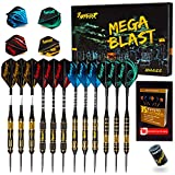 Ignat Games Professional Dart Set - Steel Tip Darts with Aluminum Shafts and 2 Style Flights + Darts Sharpener + Case, 6 pack Brass Darts