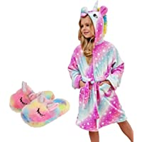Unicorn Hooded Bathrobe with Slippers, Unicorn Gifts for Girls