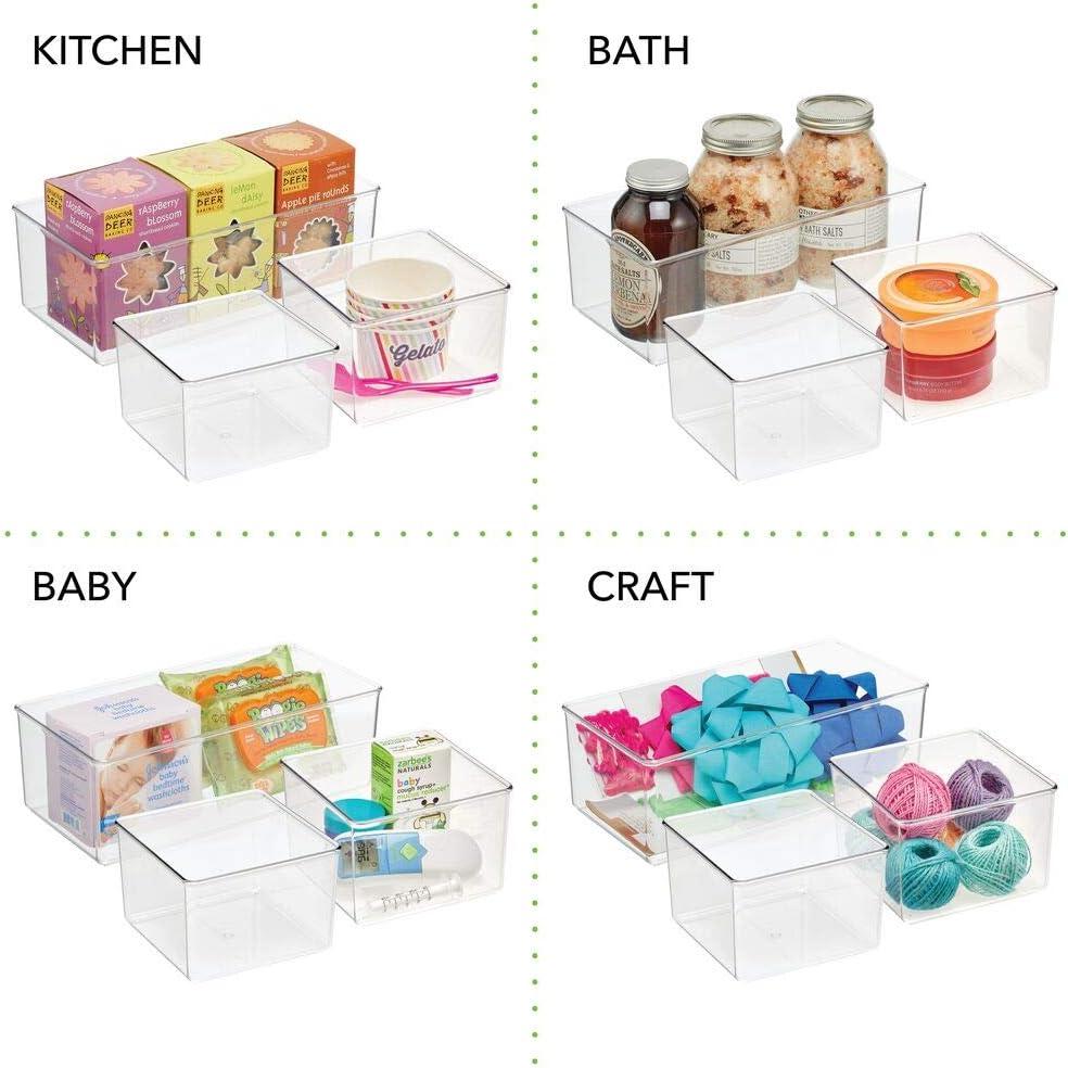 Porta oggetti in plastica senza BPA ideale per abbigliamento e accessori mDesign Contenitore portaoggetti a 6 scomparti trasparente Pratica scatola trasparente per la camera da letto