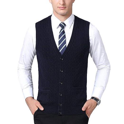 ace4319d40c38 Mixsense Mens Comfort Wool V-Neck Sleeveless Jacquard Cardigan Sweater Vest  (S