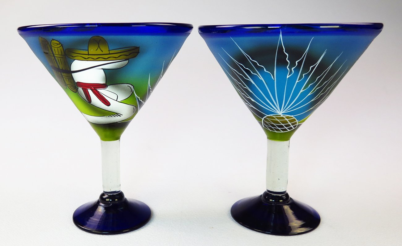 Mexican Glass Margarita Martini Hand Painted Poncho and Cactus, 14 Oz, Set of 4 by Mexican Margarita Glasses (Image #6)