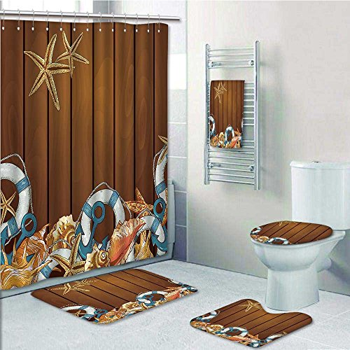 Homesonne Designer Bath Polyester 5-Piece Bathroom Set, Seashells Anchors Starfish Wooden Backdrop Nautical Elements Ic Sea Theme Shower Curtain/Toilet seat/Bath ()