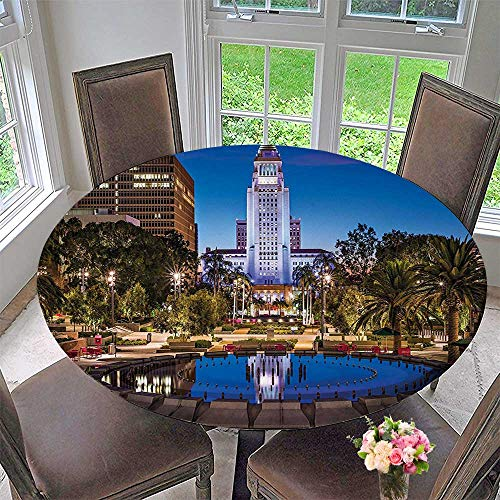 - Mikihome Circular Table Cover Los Angels City California Popular Town Urban Downtown for Wedding/Banquet 55