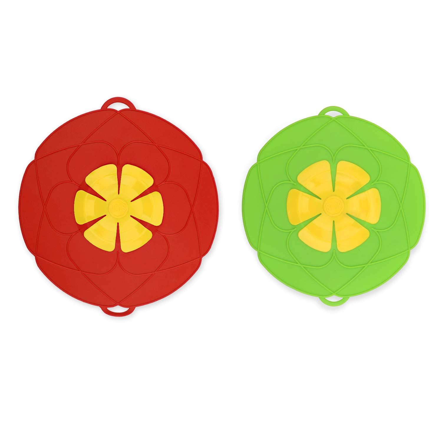 Boil Over Spill Stopper - IEBIYO Silicone Spill Stopper Lid - BPA Free and Food Grade - for Microwave, Stovetop, Oven, Refrigerator, Freezer, Pot, Pan (Red and Green)