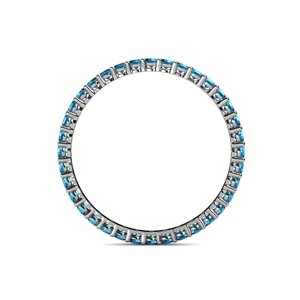 TriJewels London Blue Topaz 2mm Gallery Shared Prong Eternity Band 0.91-1.09 ctw 14K White Gold.size 6.5 by trijewels (Image #4)