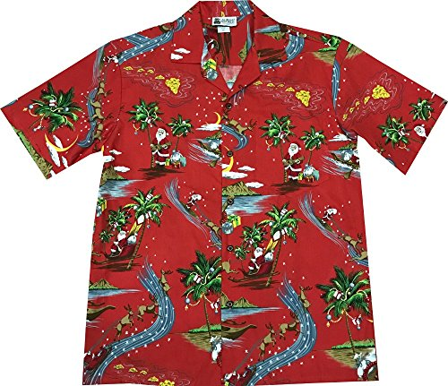 Christmas Hawaii (XL Red Hawaiian VINTAGE Santa Rudolph Reindeer Christmas Aloha Shirt)