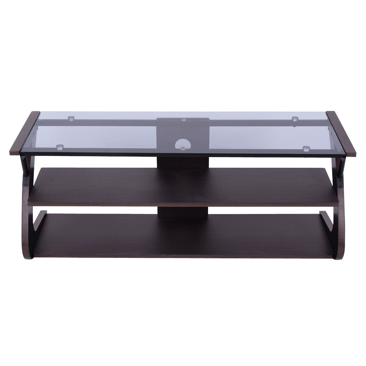 3 Tier Tempered Glass Top TV Stand Entertainment Center Media Console Furniture