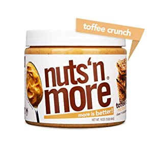 Nuts 'N More Toffee Crunch Peanut Butter Spread, All Natural High Protein Nut Butter Healthy Snack, Omega 3's, Antioxidants, Low Carb, Low Sugar, Gluten-Free, Non-GMO, no preservatives,16 oz Jar