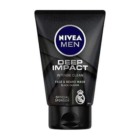NIVEA MEN Deep Impact Intense Clean Face & Beard Wash with Black Carbon - 100gm