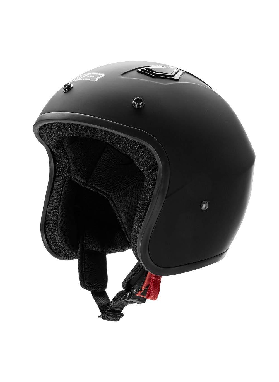 interni anallergici e traspiranti Casco omologato per scooter moto Jet Nero Opaco con calotta esterna in fibra visiera parasole rimovibile XL CRUIZER