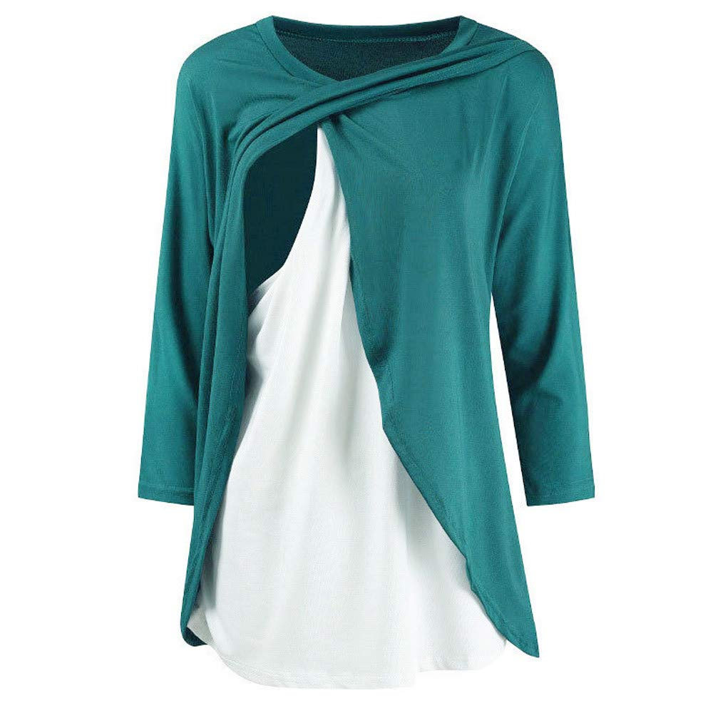 SMILEQ Top Women Casual Maternity Breastfeeding Tee Nursing Tops Solid Long Sleeve T-shirt