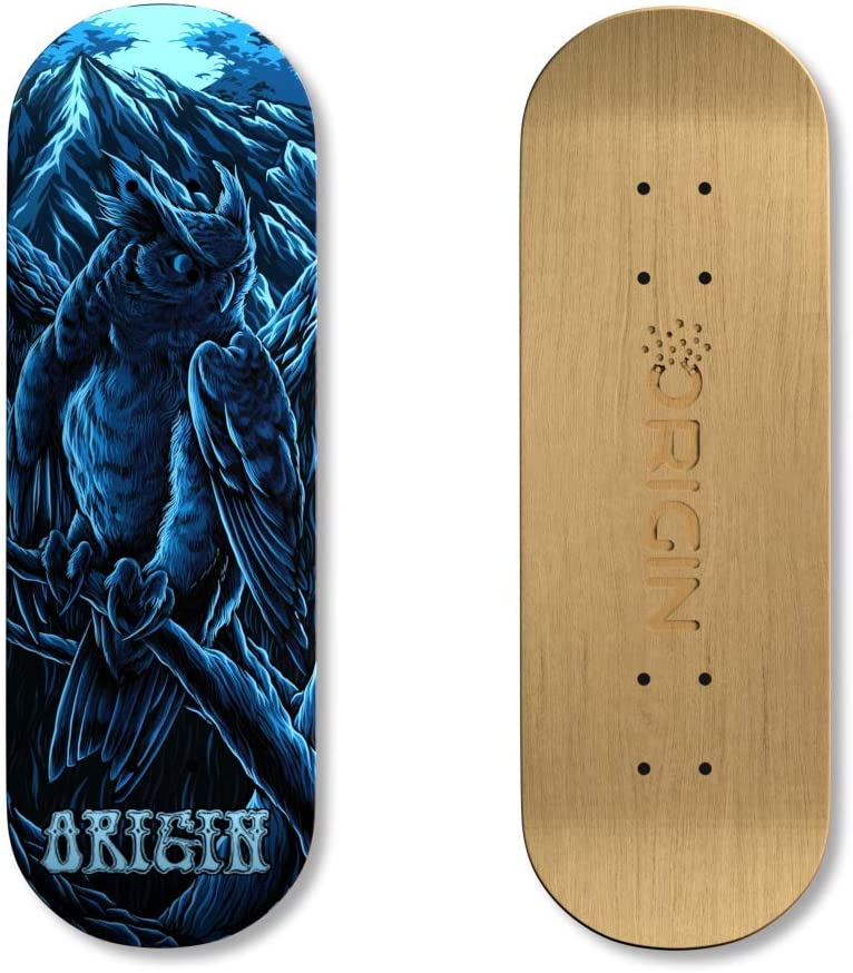 32mm 5-Ply Canadian Maple Skateboard Toy with CNC Bearing Wheels Owl Origin Fingerboards Premium Graphic Fingerboard Kit
