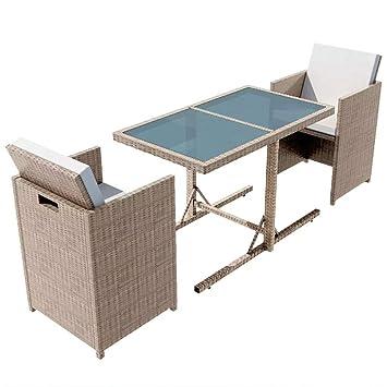 mewmewcat 7 Piezas Conjunto Muebles de Jardín de Ratán Sofa ...