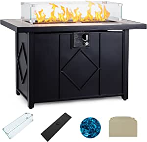 AVAWING Propane Fire Pit, 42 inch 50,000 BTU Gas Fire Pit Table with Glass Wind Guard, Table Lid, Fire Glass, Waterproof Cover, Outdoor Gas Fire Pit for Garden, Patio, Backyard, Black