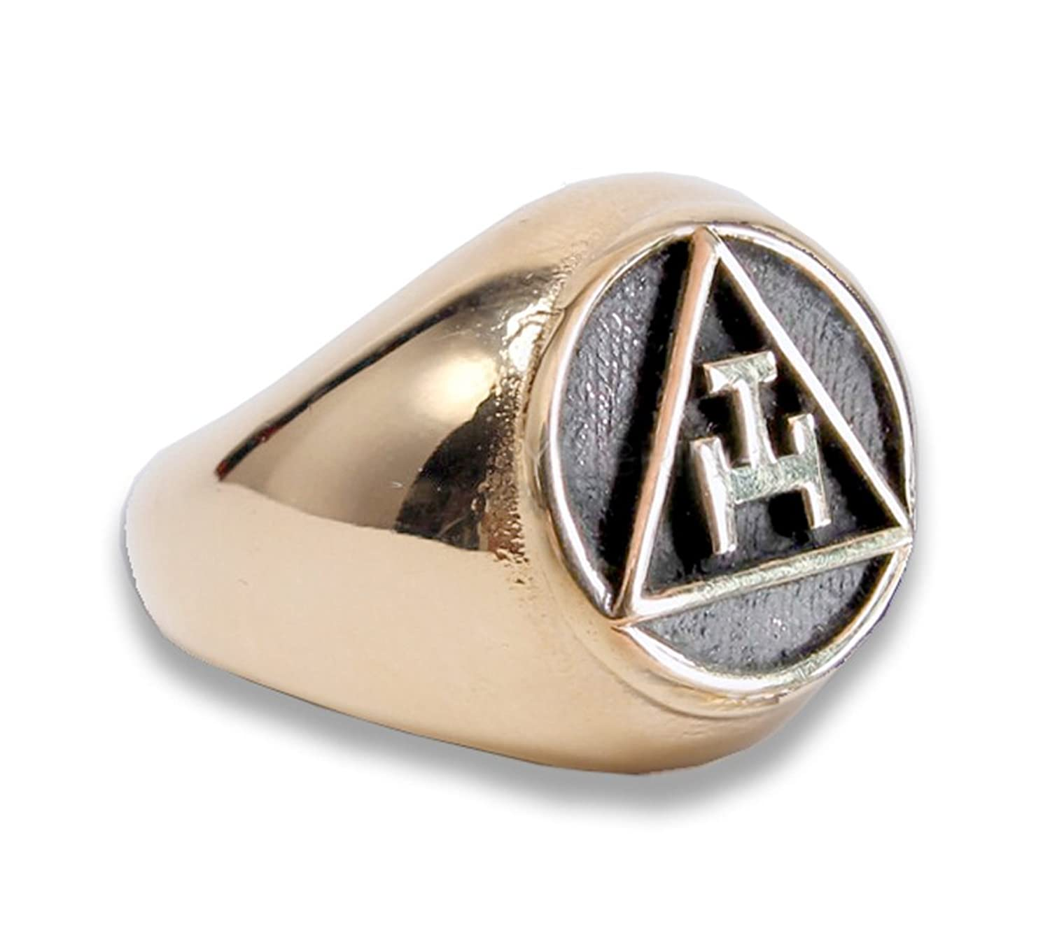 Gold Tone Stainless Steel - Freemason Royal Arch Symbol Ring - Triple Tau Chiseled Face Masonic Rings for sale