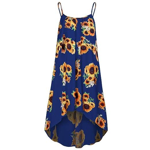 Amazon.com: Women\'s Sunflower Dresses Summer Spaghetti Strap ...