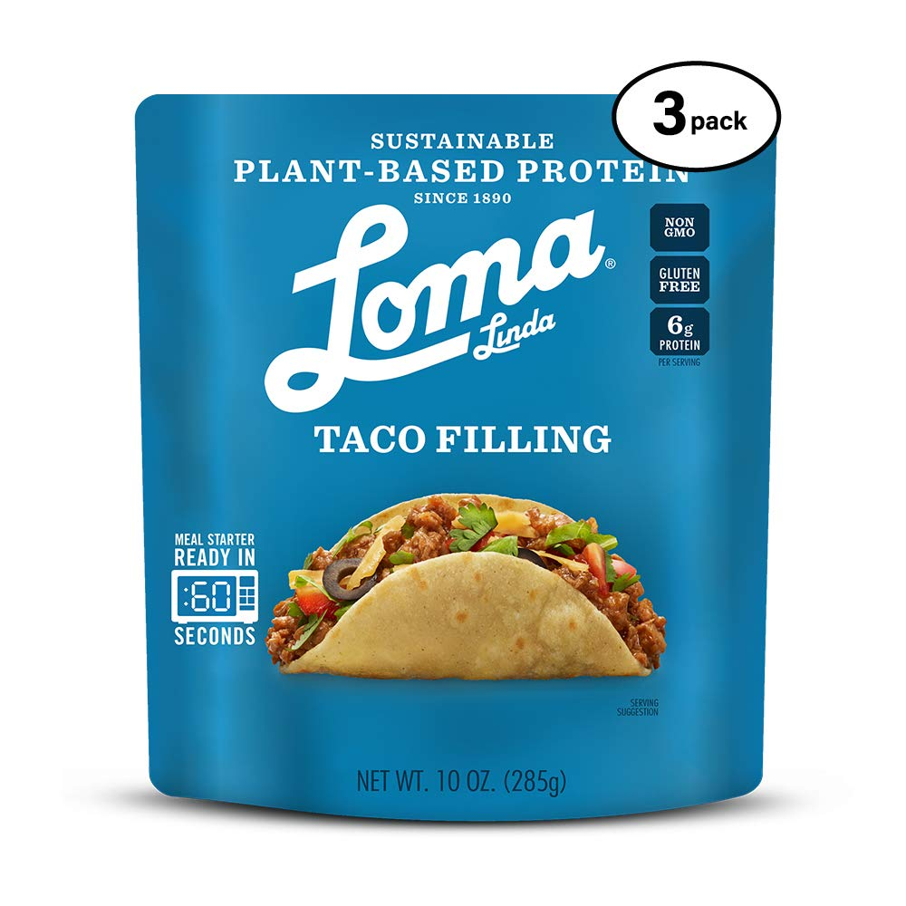 B07M8FJX1R Loma Linda Blue - Plant-Based Meal Solution - Taco Filling (10 oz.) (Pack of 3) - Non-GMO, Gluten Free 61oUuX2BGl4L