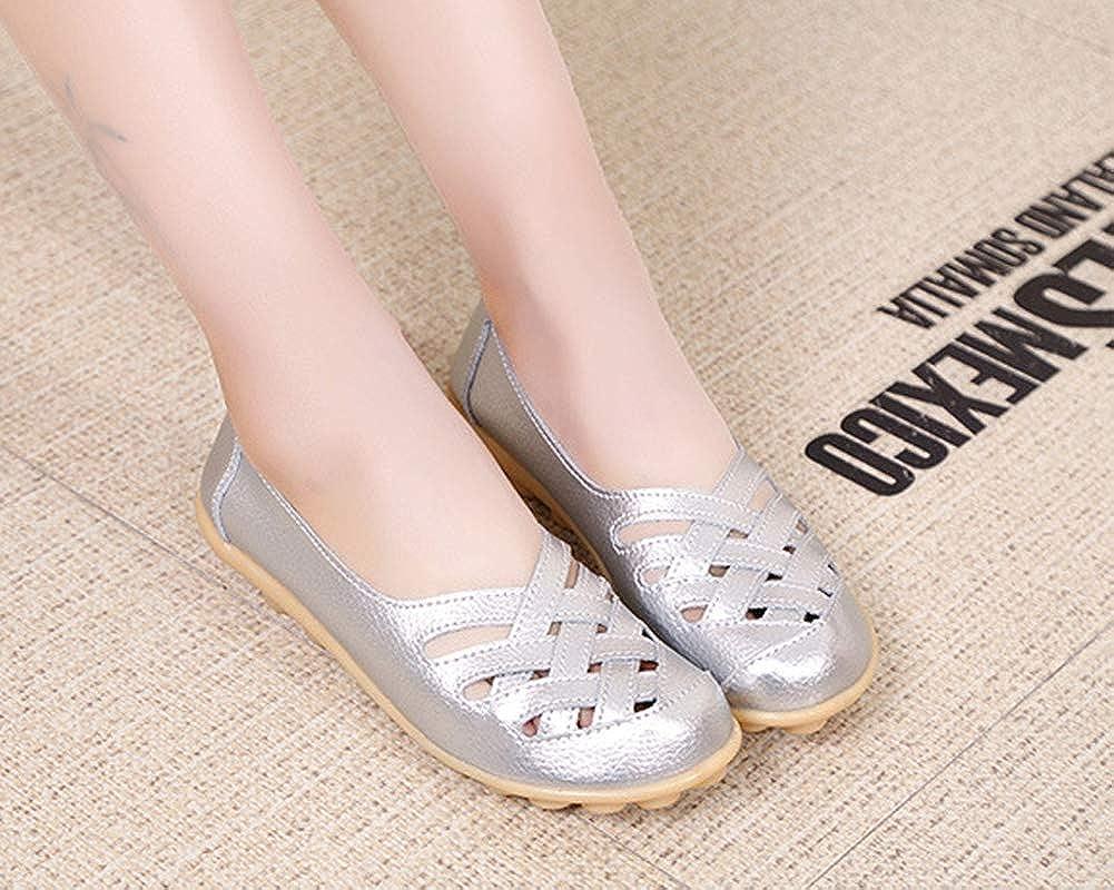 Mocasines de Cuero Mujer Loafers Casual Zapatos de Conducci/ón C/ómodos Zapatillas del Barco