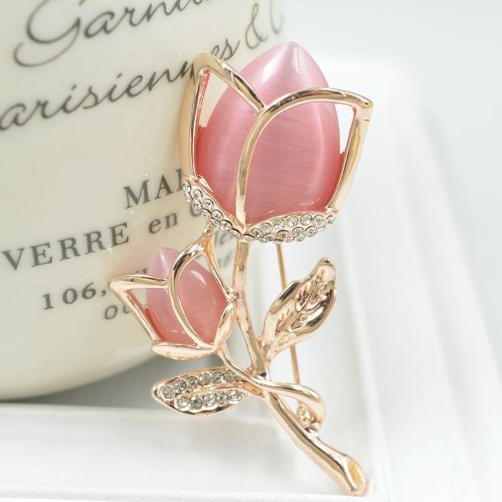 Diamond Rose Brooch Pin Opal Jewelry Christmas Clothing Accessories MAFYU Brooch