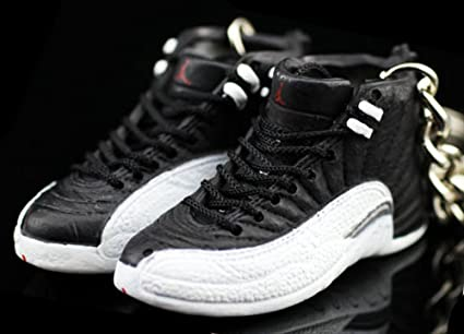 200aebf44e05 Amazon.com   Air Jordan XII 12 Retro Playoff Black White OG Sneakers Shoes  3D Keychain Figure   Everything Else