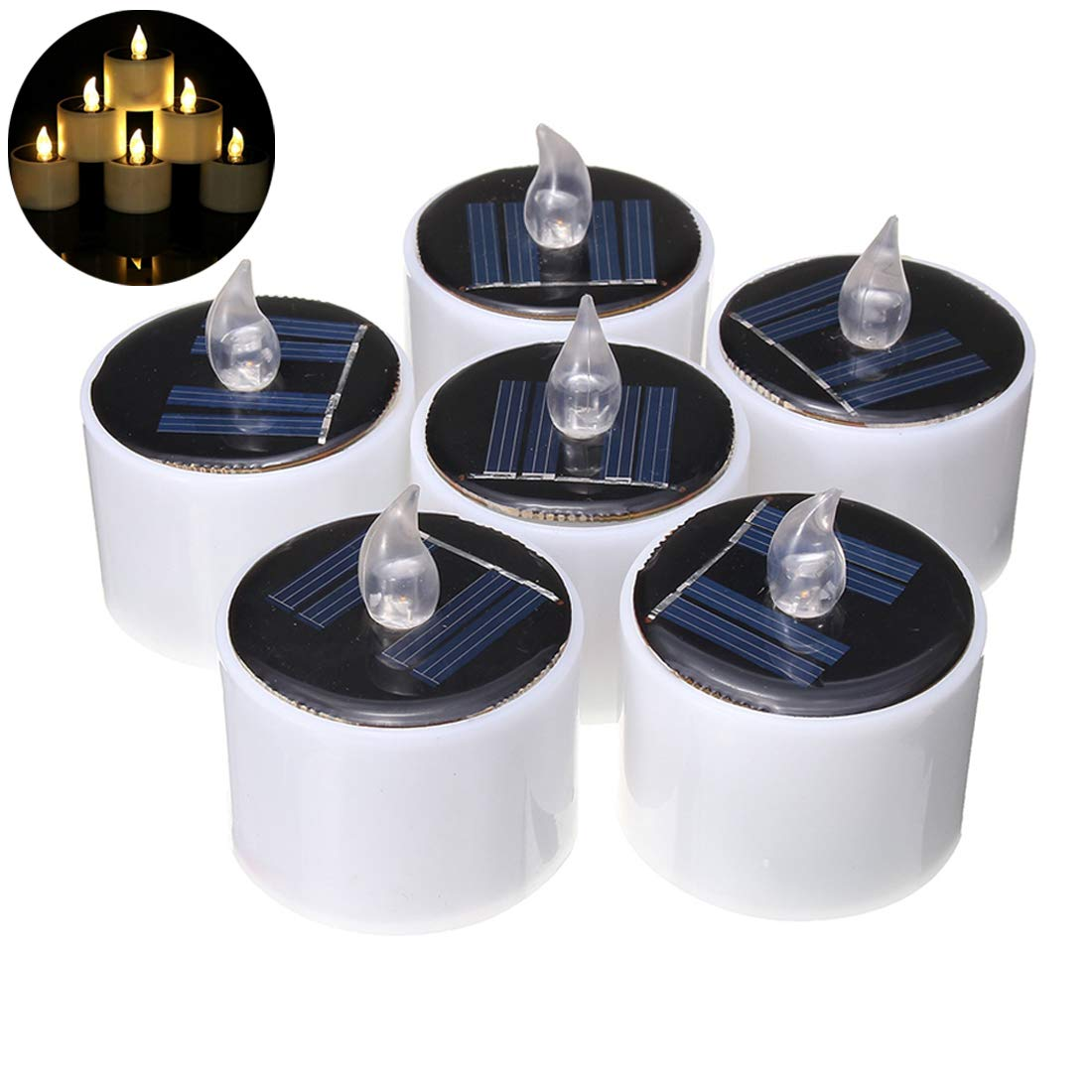Ayans 6Pcs Solar Candles Lights,Flameless Flicker Solar Power Tealights Romantic Electronic Solar LED Lamp Night Light for Home Party,Festival Decor(Warm white)