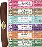 Set of 6 – Nature's Meditation, Nest, Rose, Basil, Parijatha, and Lavender with Govinda Incense Holder – by Goloka Nature's Series and Govinda Burner