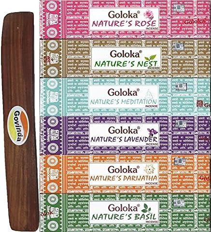 Set of 6 - Nature's Meditation, Nest, Rose, Basil, Parijatha, and Lavender with Govinda Incense Holder - by Goloka Nature's Series and Govinda - Incense Set