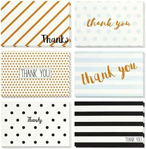 Thank You Cards - 48-Count Thank You Notes, Bulk Thank You Cards Set - Blank on the Inside, Retro Designs - Includes Thank You Cards and Envelopes, 4 x 6 Inches