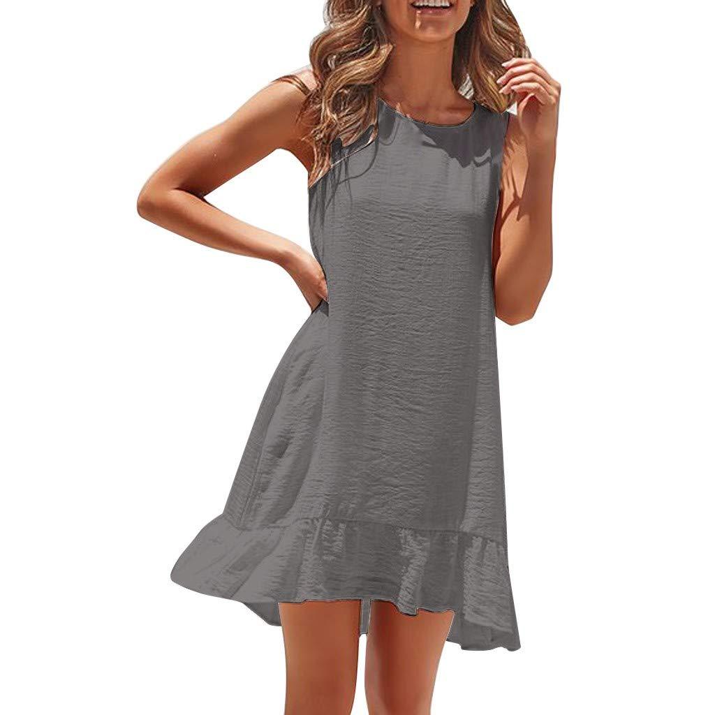 Yesmile Damen Casual Kleid Camisole ärmelloses O-Ausschnitt Minikleid Mode Sexy Kleid Damen Sleeveless Hosenträgerrock Camisole Minikleid Elegantes Strand Kleid