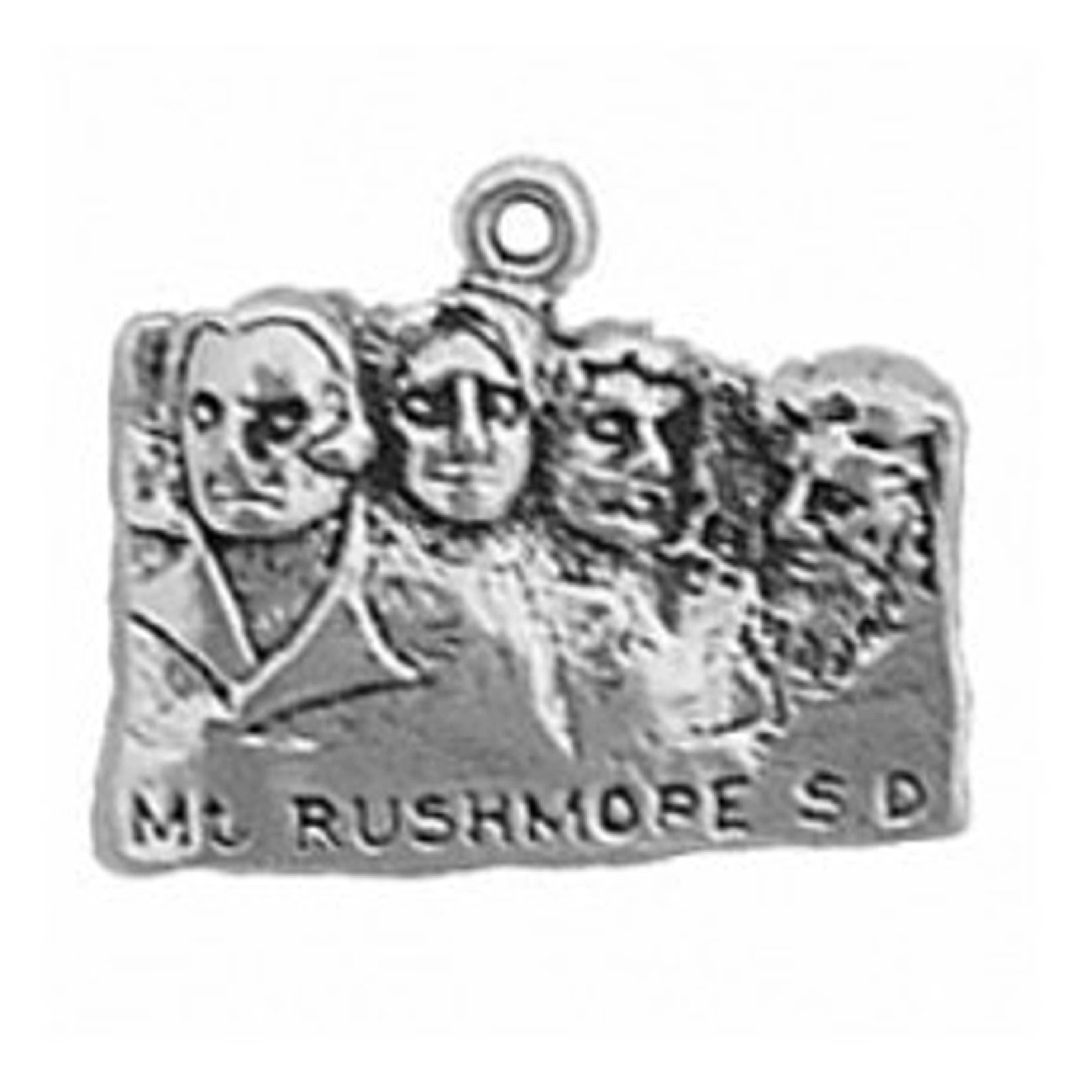 Sterling Silver Girls .8mm Box Chain Mount Rushmore Pendant Necklace