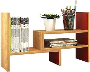 Home Storage Bookshelf Adjustable Freestanding Natural Wood Desktop Storage Organizer Display Shelf Rack Counter Top Bookcase for Bedroom Living Room Office