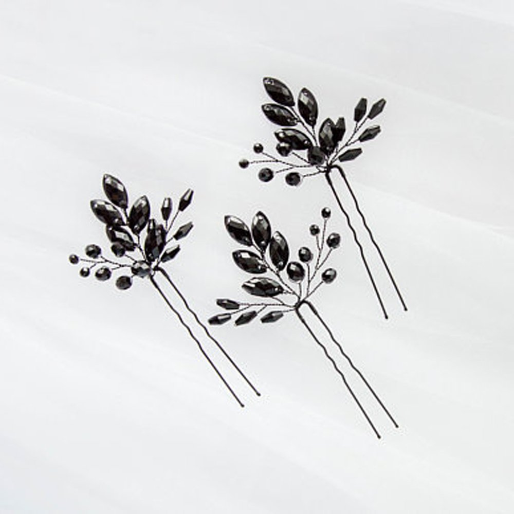 Kercisbeauty 3pcs Black Crystal Hair Pins for Wedding Bride, Prom Teen Girls