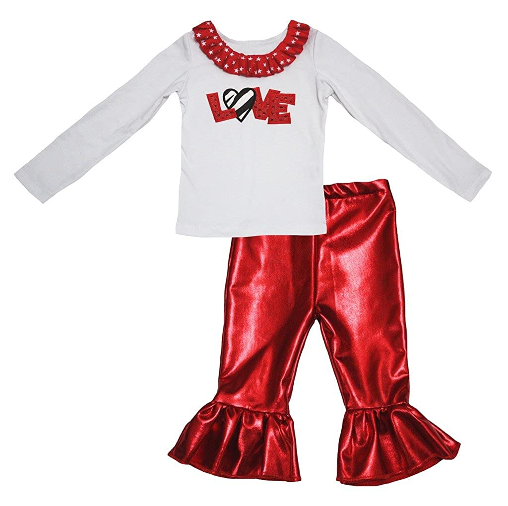 Petitebella Sequins Zebra Love White Cotton L//s Shirt Red Shiny Pant Set 1-8y