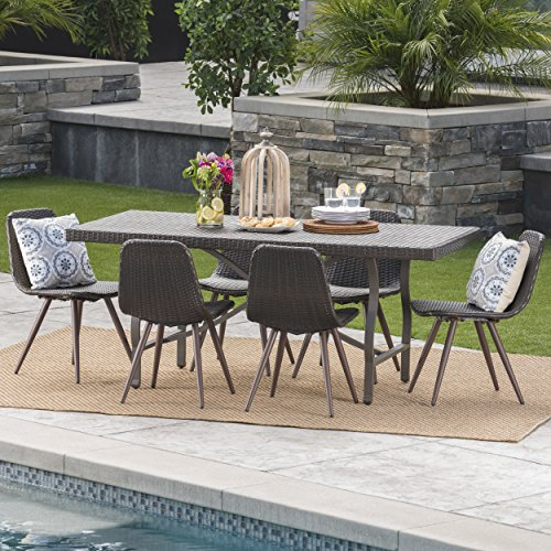 (Nira Outdoor 7 Piece Multibrown Wicker Dining Set with Foldable Rectangular Dining Table)