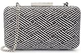 MagicLove Women's Woven Straw Box Clutch Summer Bag Beach Purse Black