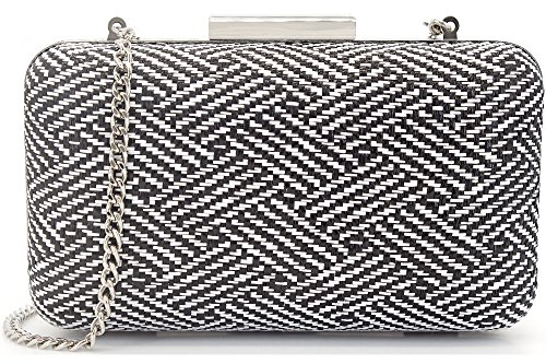 MagicLove Women's Woven Straw Box Clutch Summer Bag Beach Purse Black