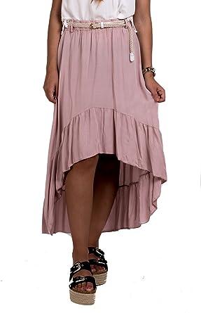 Falda Asimétrica con Volantes y Cinturón: Amazon.es: Ropa y accesorios
