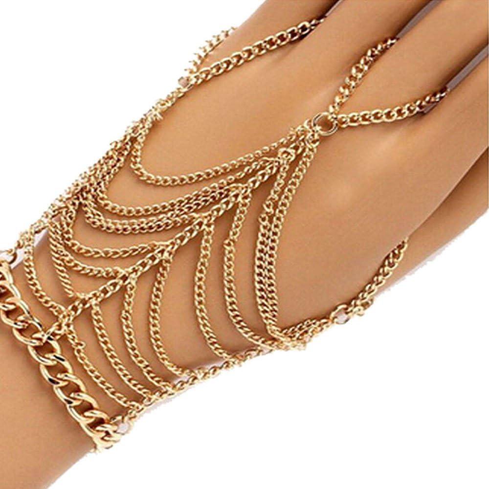 Women Tassel Slave Bracelet Bangle Finger Ring Harness Hand Chain Jewellery UK