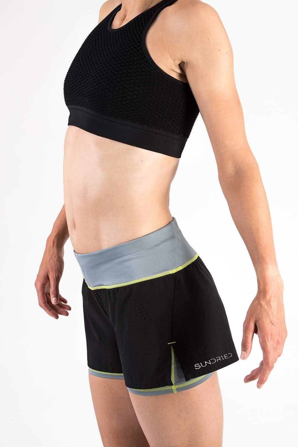 Sundried Short Gym en Cours de Remise en Forme et de la Formation 2-in-1 Shorts Court Noir Femmes